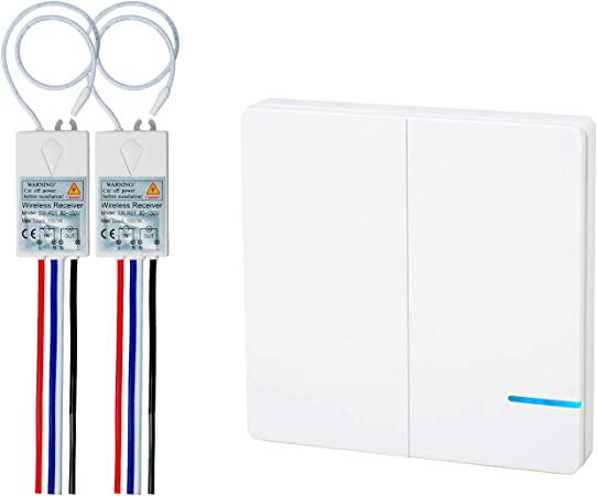 Receiver for Lamp Outdoor RF Remote Control 2 Pack 2 Way Wireless Light Switch