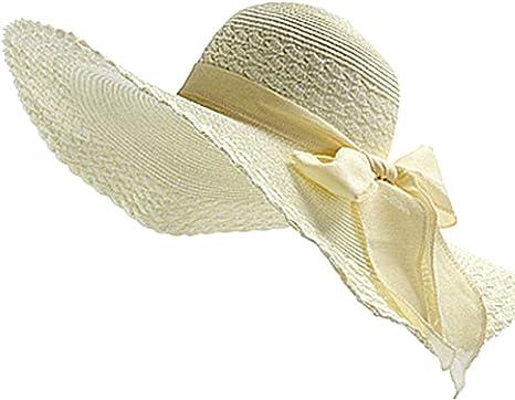 Lankater Femmes Chapeau de Paille visi/ères Cap Pliable Large Brim Chapeau de Soleil Bow Noeud de Plage Chapeaux Top Cap Round Vider