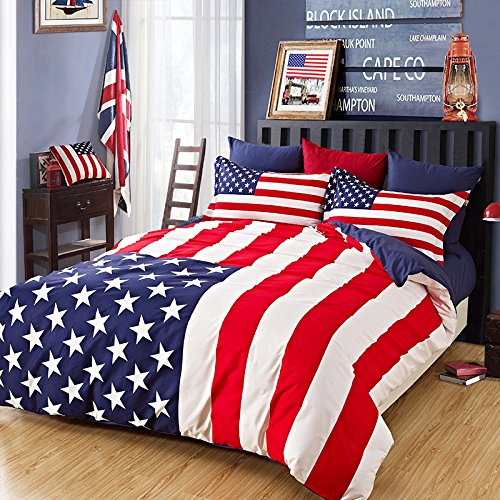 Brandream Designer American Flag Bedding Set 100% Cotton Duvet Cover Queen Full Size - Flag Comforter Set
