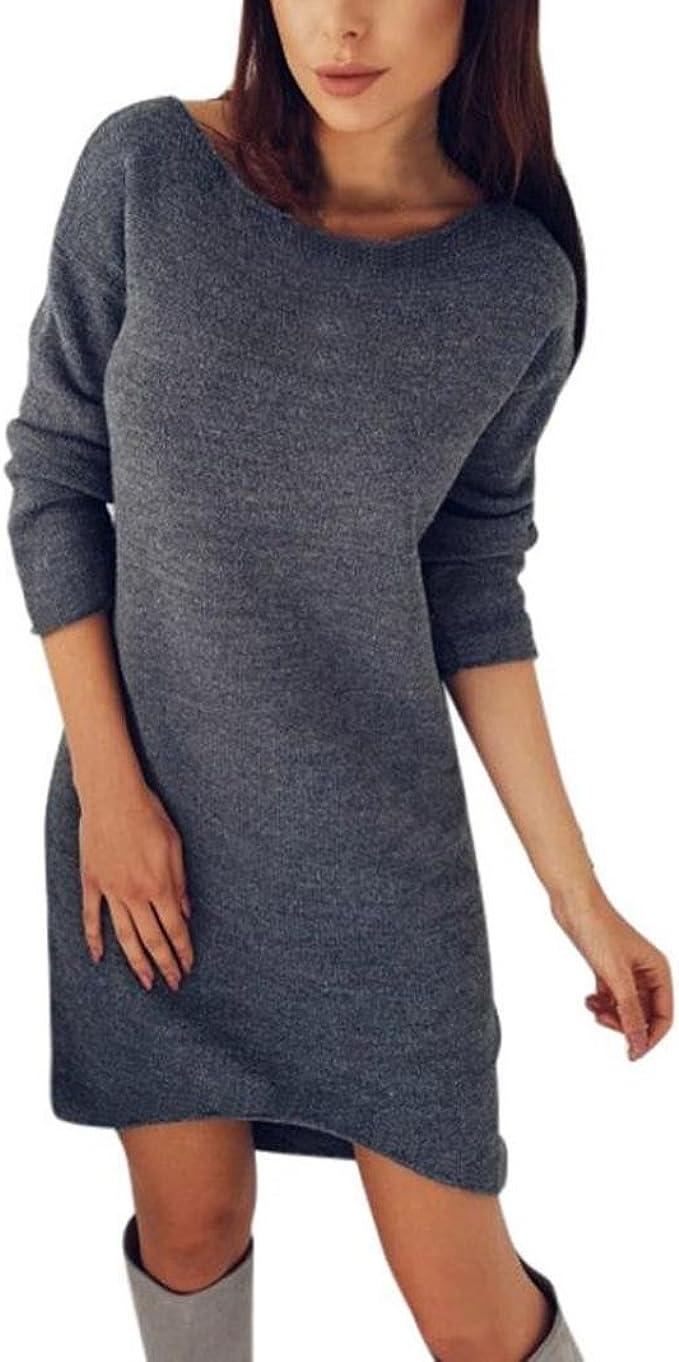 Kolylong/® Kleid Damen Frauen Elegant Pl/üsch Pullover Kleid Herbst Winter Warm Langarm Kleid Cocktails Minikleid Party Kleid Abendkleid Sweatshirt Lang Sweater Bluse Tops