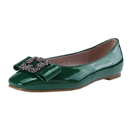 Damara Elegante Mujeres Zapatillas con Lazo De Cristal Zapatos Planos.Verde.talla39: Amazon.es: Zapatos y complementos