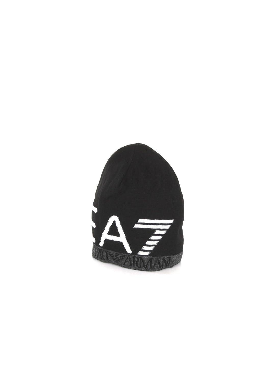 Emporio Armani EA7 Train Visibility Printed Black Beanie Hat L   Amazon.co.uk  Clothing 4f5138a76073