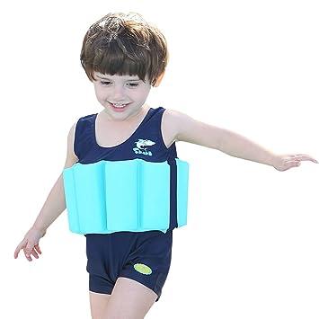 Bañador de una pieza con flotador integrado, para niños y niñas, Infantil, azul marino, 7 años: Amazon.es: Deportes y aire libre