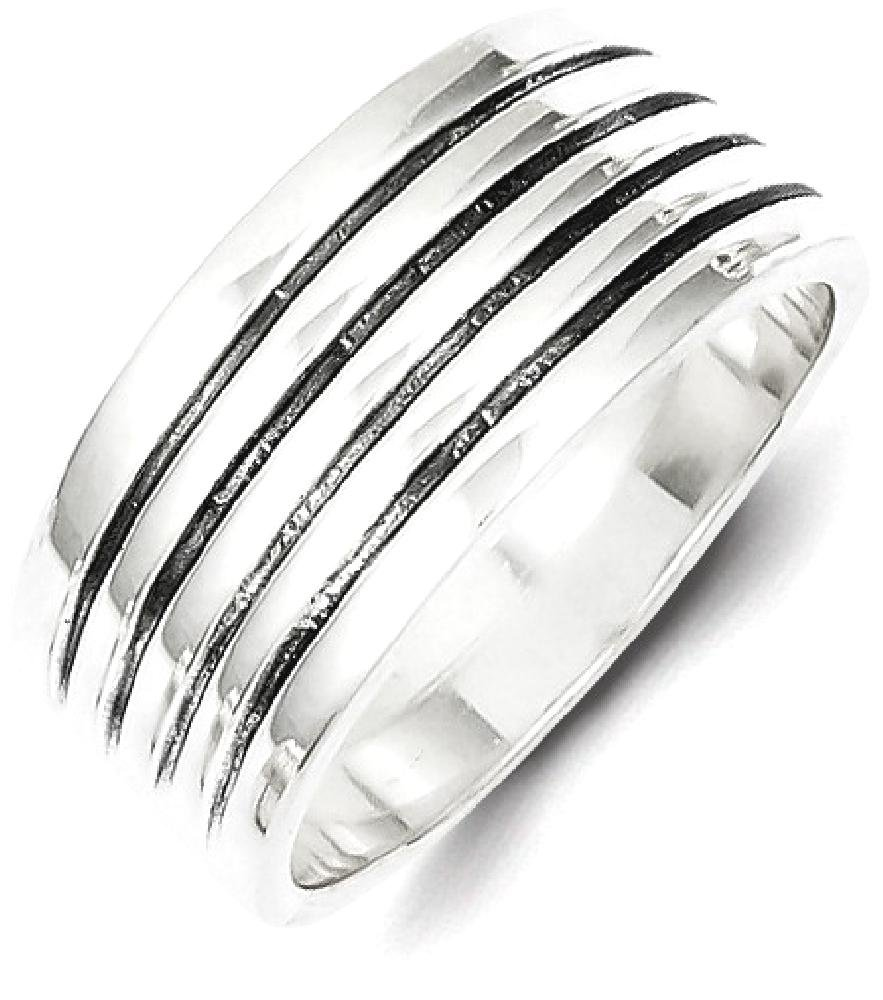 ICE CARATS 925 Sterling Silver Ribbed Band Ring Size 8.00 Fine Jewelry Ideal Gifts For Women Gift Set From Heart by ICE CARATS (Image #2)