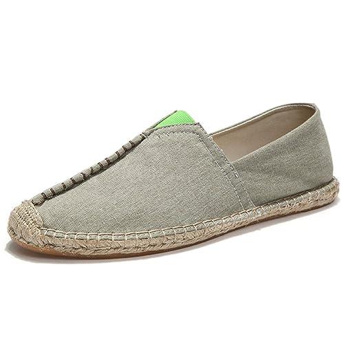 Estilo Chino Alpargatas para Hombre Linen Espadrilles Gris Lona Zapatillas: Amazon.es: Zapatos y complementos