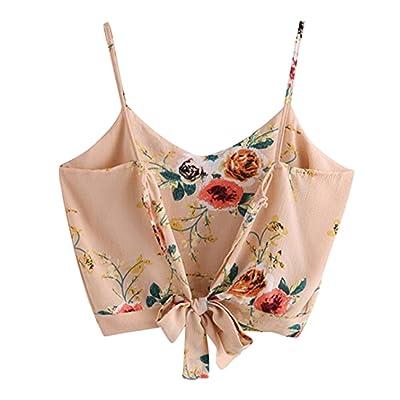 ❤️【Débardeur Femmes t-shirt sans Manches】Fuibo Femme Camisole Été Vest Tank Tops Chemisier ✿❤️Femme auto cravate dos V cou floral imprimer Crop Cami camisole chemisier