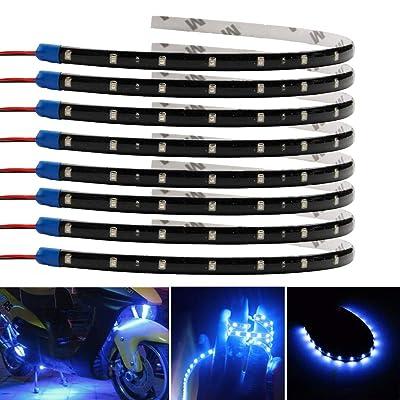 ESUPPORT Blue 12v 15 Led 30cm Car Flexible Waterproof Underbody Light Strip Decoration Pack of 8: Automotive