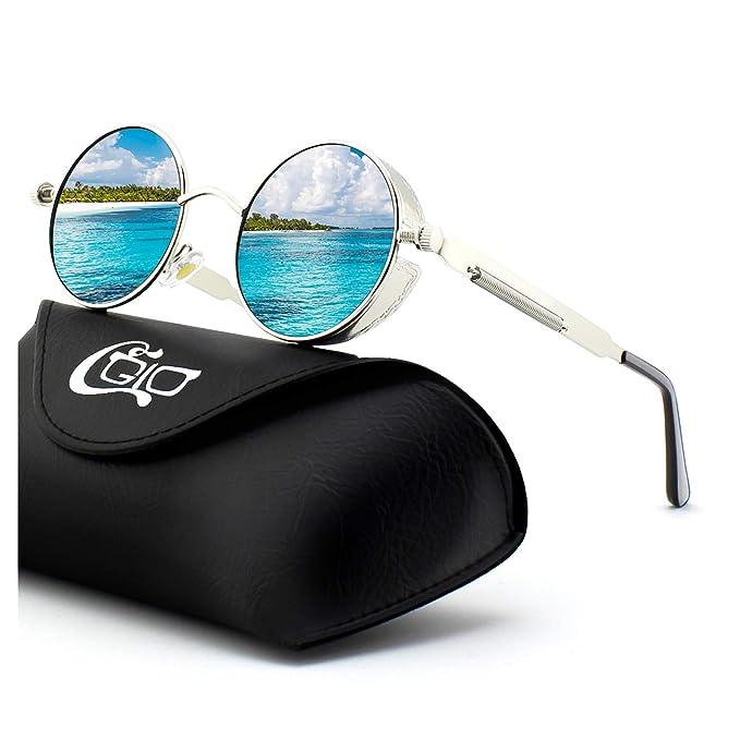 CGID E72 Steampunk estilo retro inspirado círculo metálico redondo gafas de sol polarizadas para hombres: Amazon.es: Ropa y accesorios