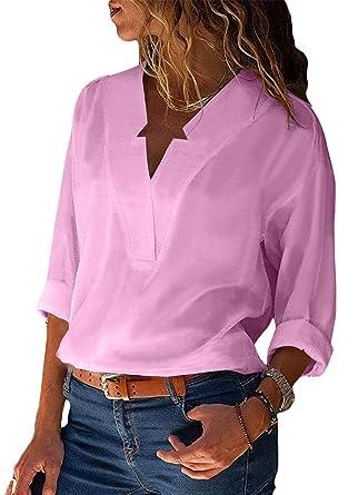 f250cf0ef2b Amazon.com  Women Tops V Neck Blouse Long Sleeve Casual T Shirt Boho Tee   Clothing