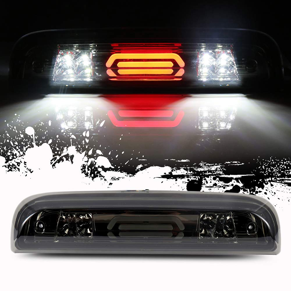 ROADFAR Third Brake Light LED 3rd Brake Light Smoke Lens High Mount Brake Light fit for 2014-2018 GMC Sierra 1500 Chevy Silverado 1500 2015-2018 GMC Sierra 2500HD 3500HD Chevy Silverado 2500 3500