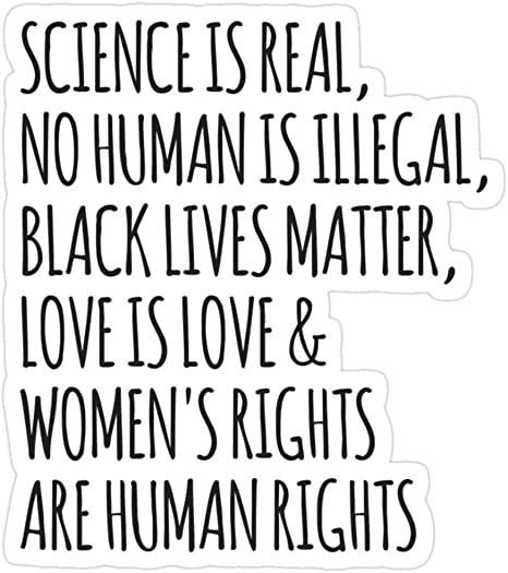 Vinyl Sticker For Cars Trucks Water Bottle Fridge Laptops Science Is Real No Human Is Illegal Black Lives Matter Love Is Love Women S Rights Are Human Rights Stickers 3 Pcs Pack Küche
