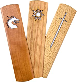 product image for American Made Hardwood Bookmark Set for Book Lovers, Fantasy Theme (Dragon, Longsword, Sun Symbols)