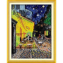 YEESAM ART New Cross Stitch Kits Advanced Patterns for Beginners Kids Adults - Van Gogh Coffee Shop 11 CT Stamped 24×35 cm - DIY Needlework Wedding Christmas Gifts