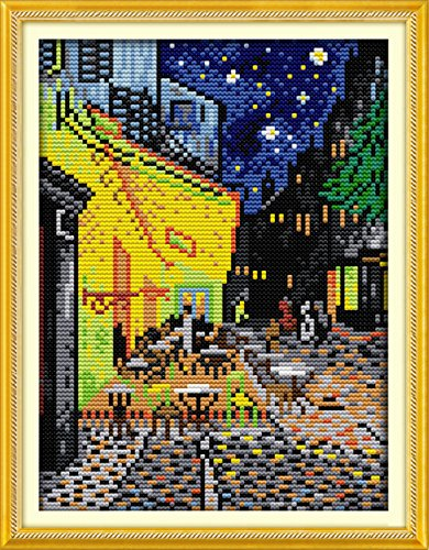 (YEESAM ART New Cross Stitch Kits Advanced Patterns for Beginners Kids Adults - Van Gogh Coffee Shop 11 CT Stamped 24×35 cm - DIY Needlework Wedding Christmas Gifts)