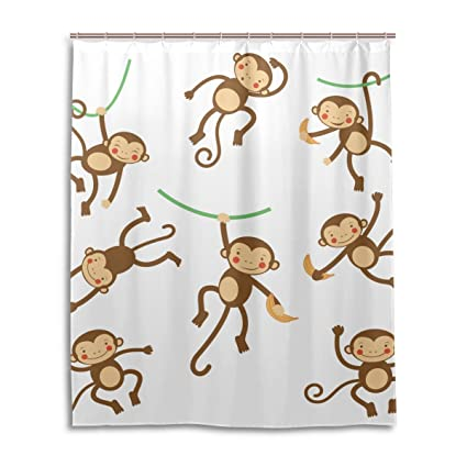 LEISISI Cartoon Monkey Bathroom Shower Curtain 60quot