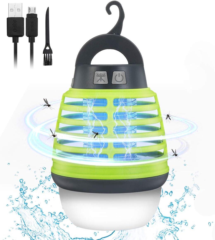 KINGSO Lampe Anti-Moustiques UV IP67 Lampe Tueur /Électrique Moustique de Recharge USB Pi/ège /à Insectes Lampe Anti-Insectes /à 3-en-1 pour Lanterne de Tente Lampe de Camping pour Int/érieur//Ext/érieur