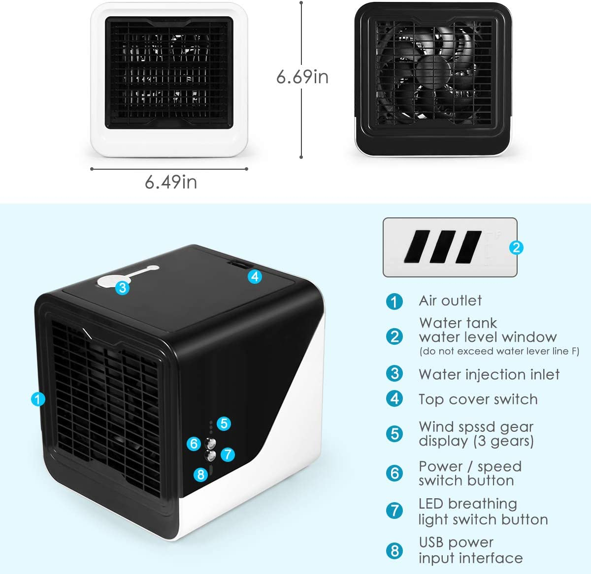 Purifier with 7 Colors LED Light 3 Speed Desktop Cooling Fan for Home Office 4 in 1 Personal Evaporative Cooler Mini Air Cooler Personal Air Conditioner Humidifier Portable Air Cooler Room