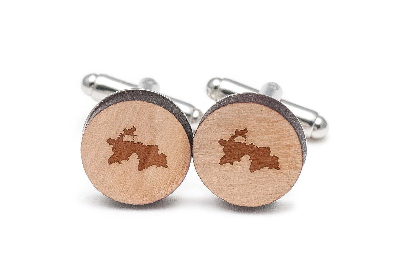 Wood Cufflinks Hand Made in The USA Wooden Accessories Company Tajikistan Cufflinks