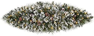 Home Accents Holiday 36 in. Sparkling Amelia Pine Battery Operated Pre-lit Artificial Christmas Door Swag with 50 Warm White Micro-Dot Lights