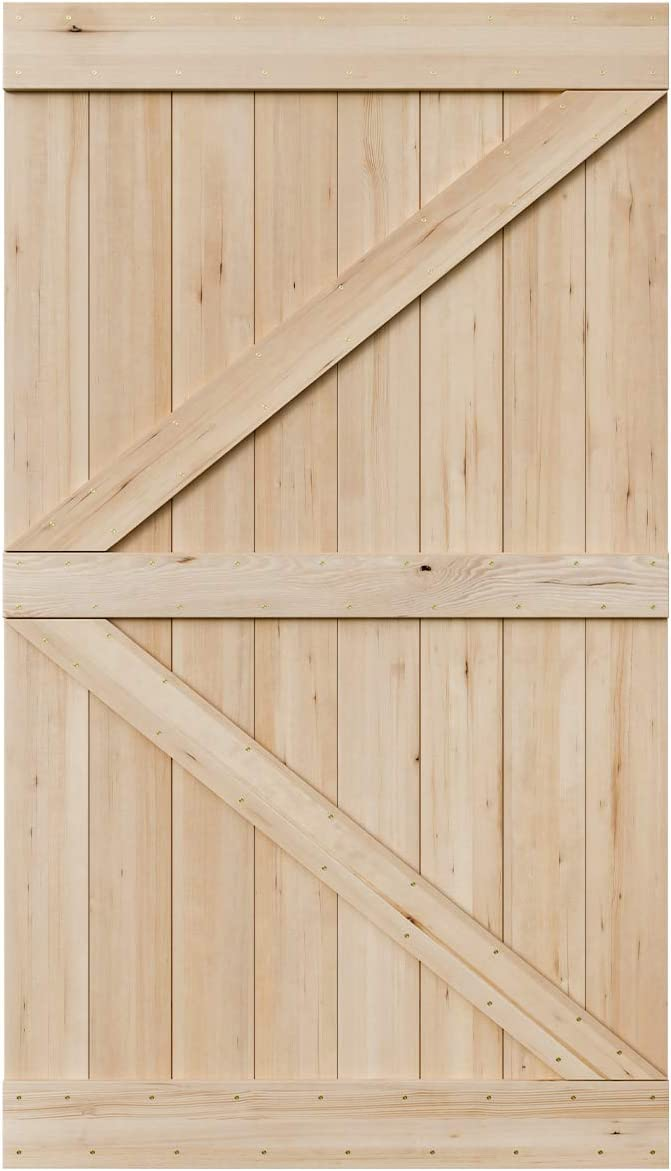 SmartStandard 48in x 84in Sliding Barn Wood Door Pre-Drilled Ready to Assemble, DIY Unfinished Solid Hemlock Wood Panelled Slab, Interior Single Door, Natural, Frameless K-Shape (Fit 8FT Rail)