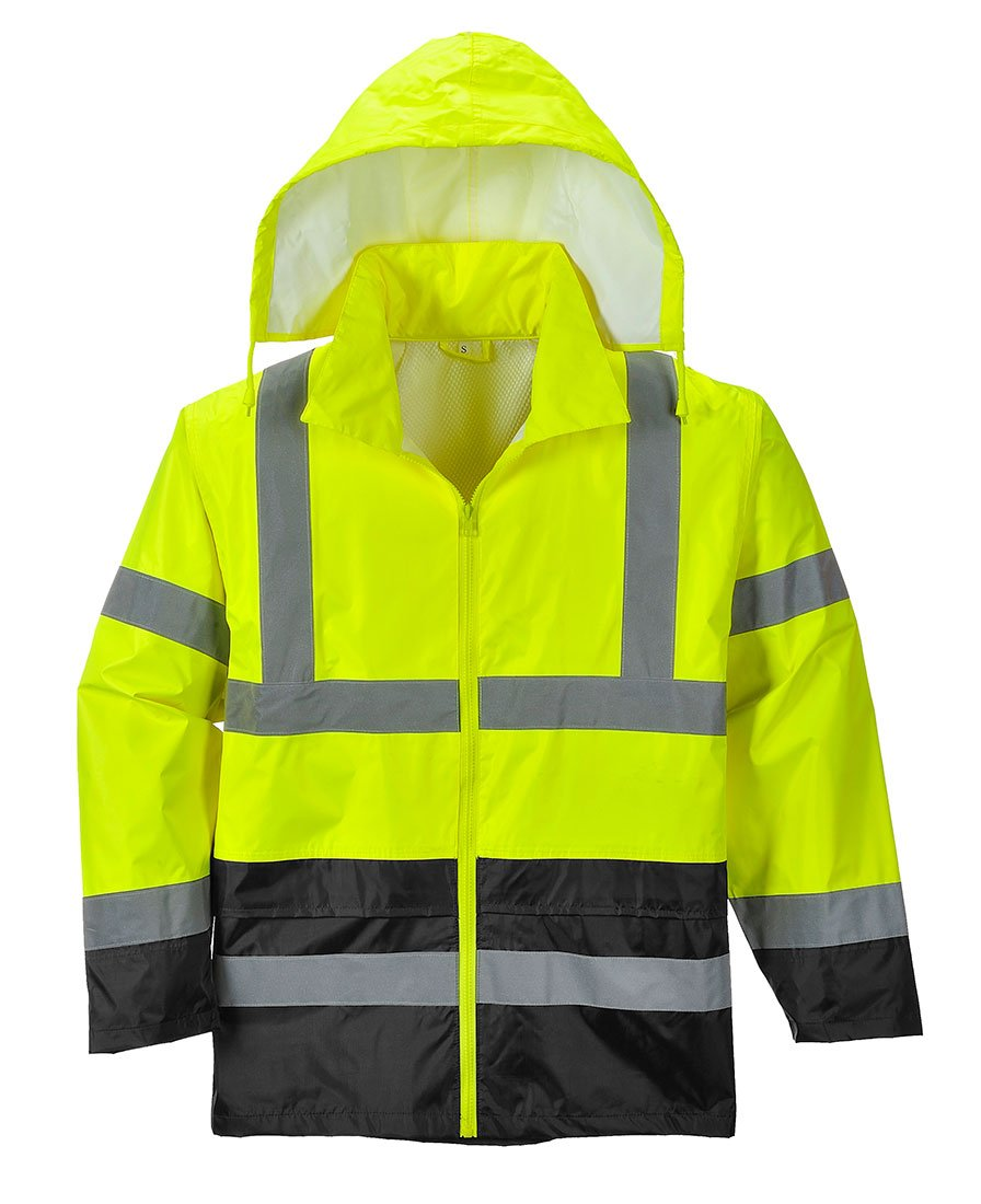 Portwest UH443YBRXXL Hi-Vis Contrast Rain Jacket, XX-Large, Yellow