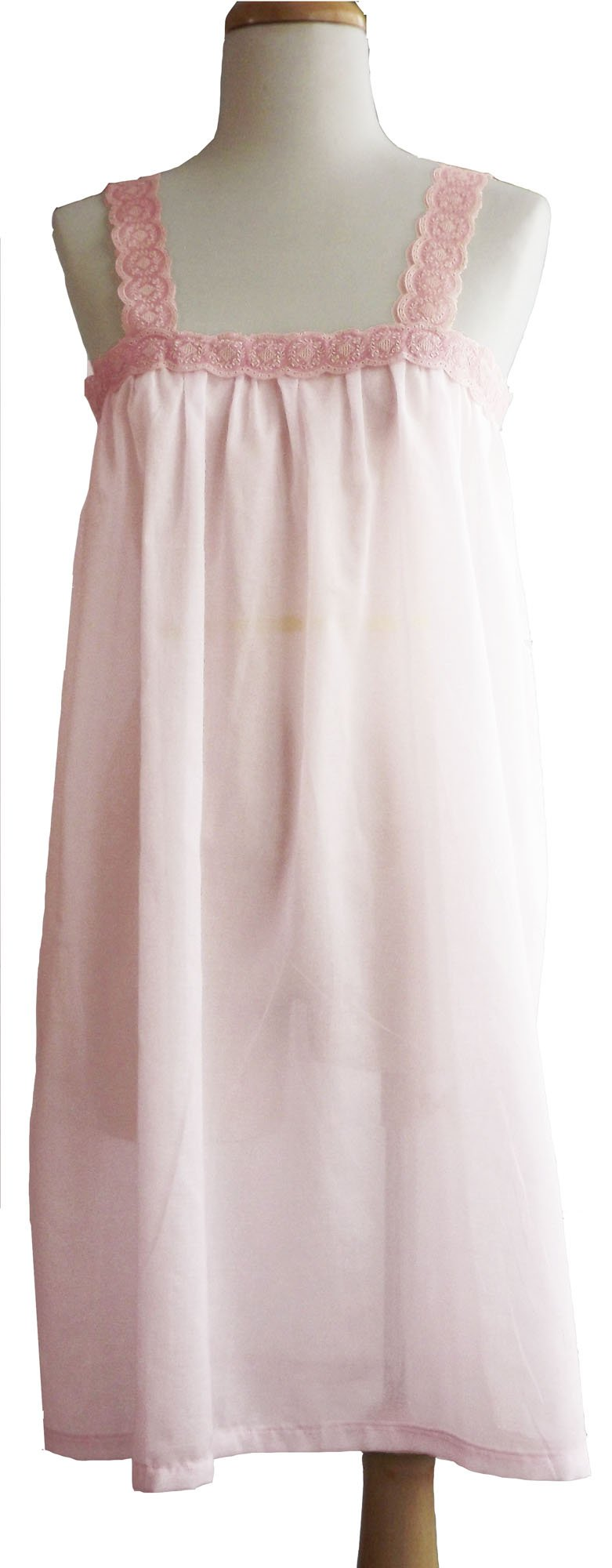 Pampour Bespoke French Embroidered Cotton Nightgown From Couture (Lt Pink Rose, Small) by Pampour (Image #1)