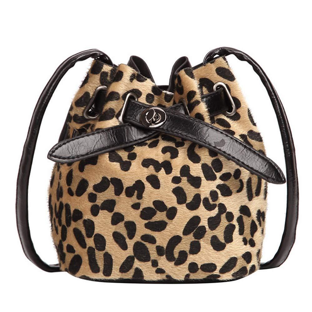 Longra ❤❤❤ ❤ Nuevo Bolso del Cubo del diseño, Bolso de Hombro de la impresión del Leopardo de la Felpa: Amazon.es: Ropa y accesorios