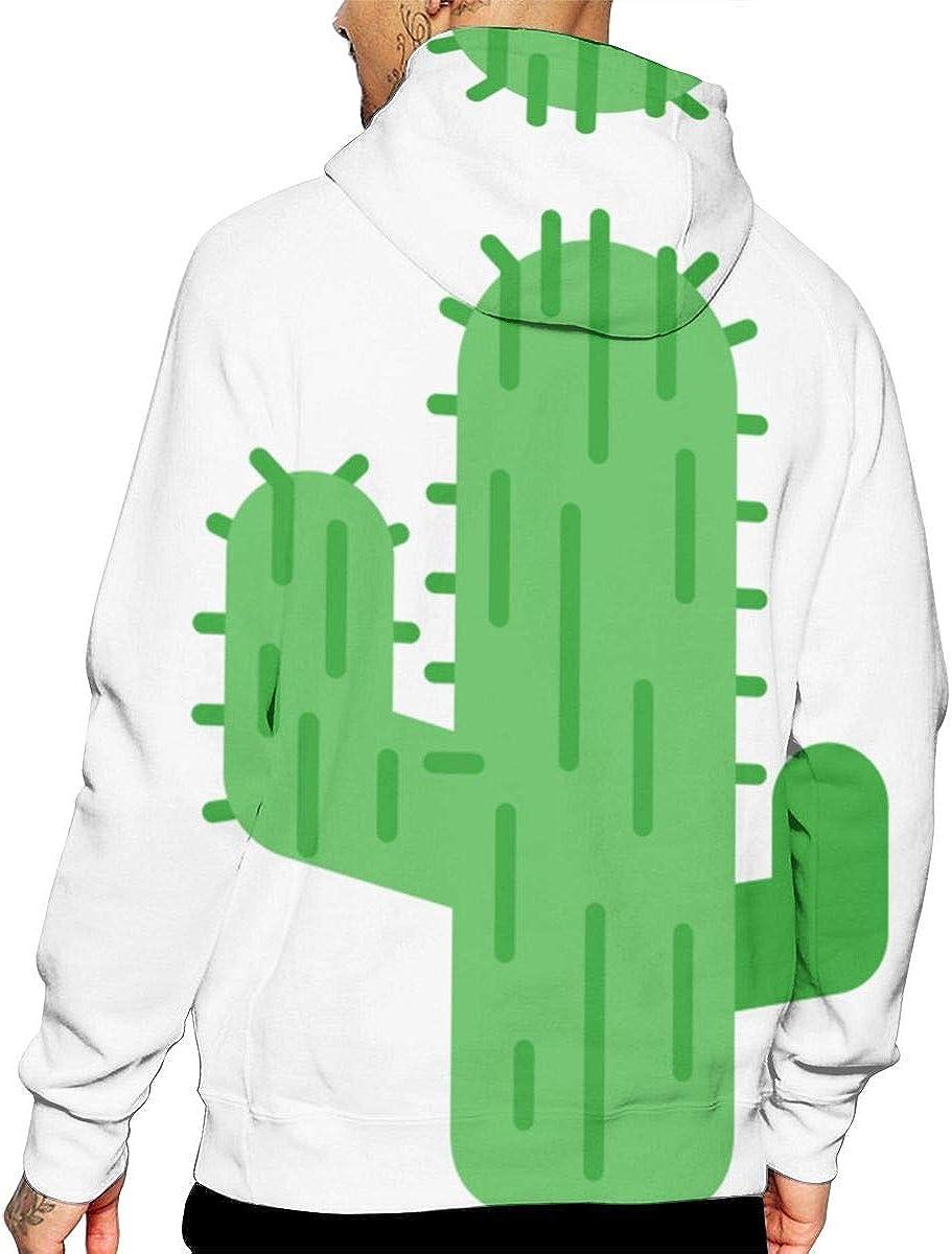 Cactus Mens Fashion Loose Pocket Long Sleeve Hooded Sweatshirt Pullover