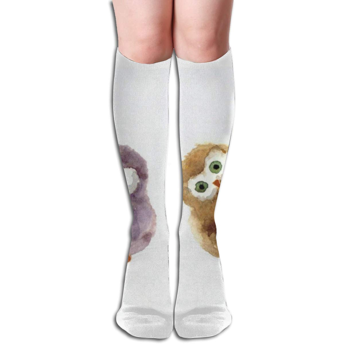 Stretch Stocking Cute Watercolor Owl Soccer Socks Over The Calf Hot For Running,Athletic,Travel