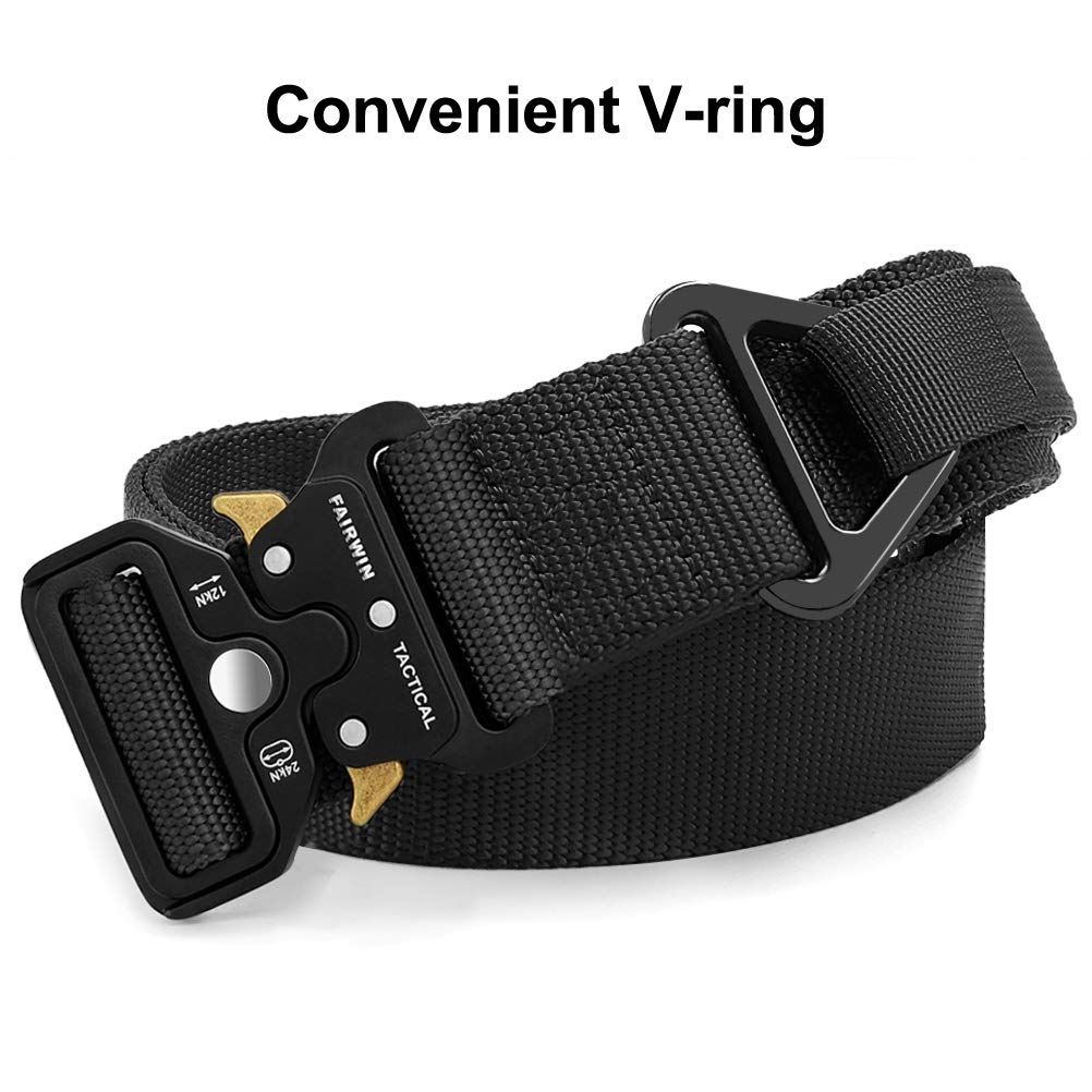Fairwin Tactical Belt with Molle Pouch Military Style 1.5 Inch Nylon Webbing Belt with V-Ring Heavy-Duty Quick-Release Buckle Mens Belt for Cargo Pants Jeans
