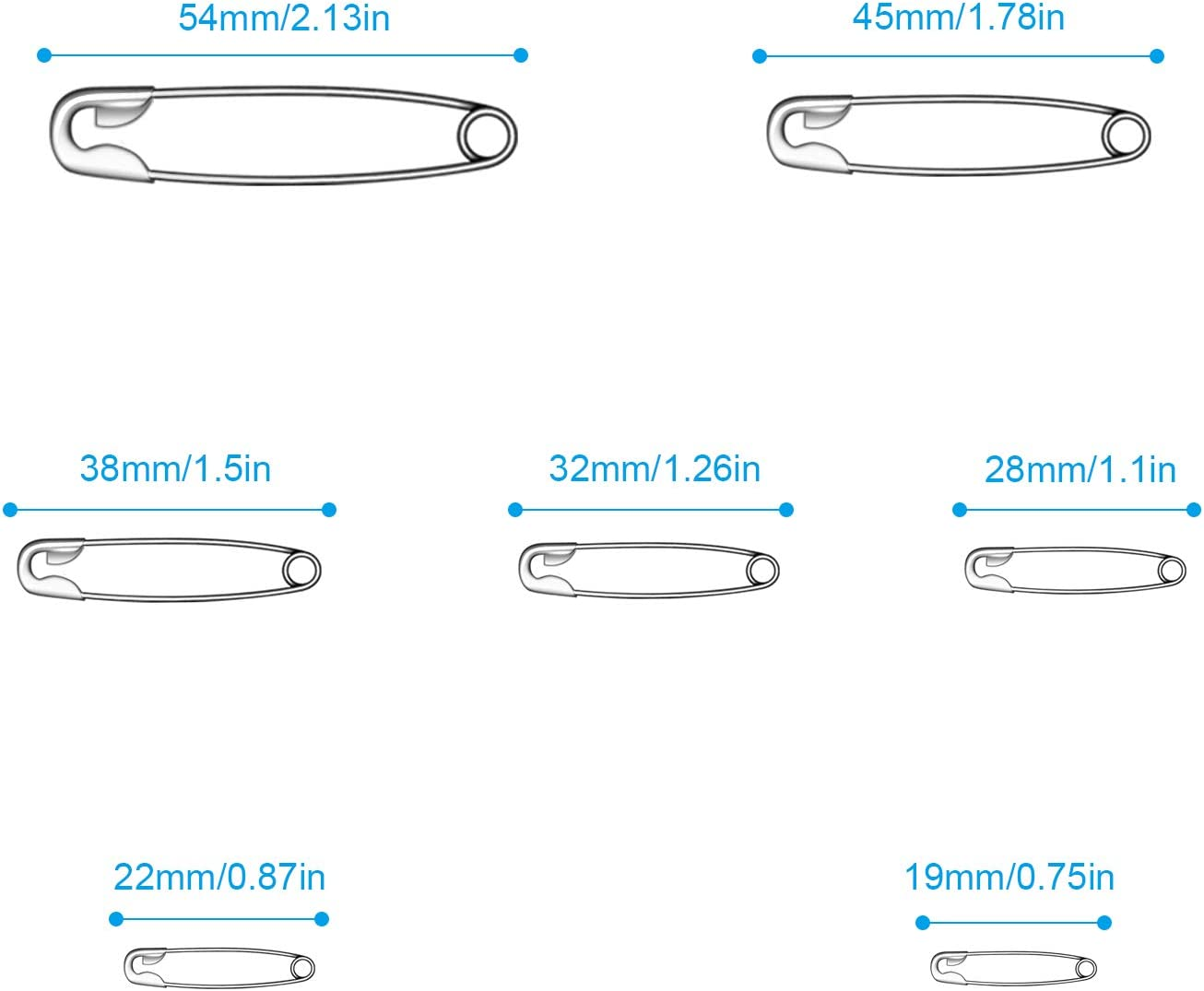 Sewing Craft Cloths Jewelry Making Premium Safety Pins Large Safety pins Set Durable 7 Sizes 19mm 54mm for Home office 500PCS Safety Pins
