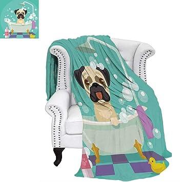Nurserytravel BlanketPug Dog In Bathtub Grooming Salon Service Shampoo  Rubber Duck Pets In Cartoon Style Imagethrow
