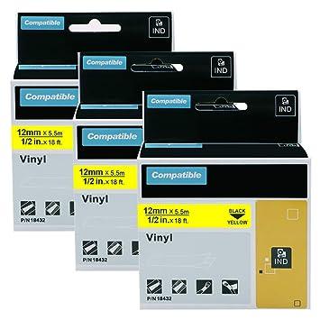 1x Ribbon Cassette vinyl 12mm black yellow for Dymo 3M PL100 3M PL200
