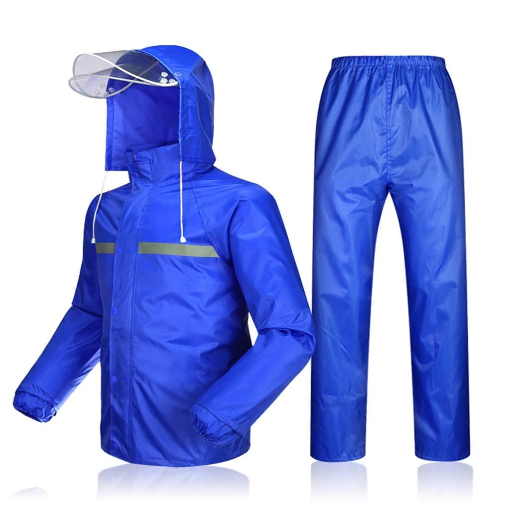 防水レインコートスーツ、大人の厚い二層暴風雨レインコートレインパンツフルボディライディングポンチョコート YUYI (Color : Dark blue, Size : XXXXL) B07SMSWDJH Dark blue XXXXL