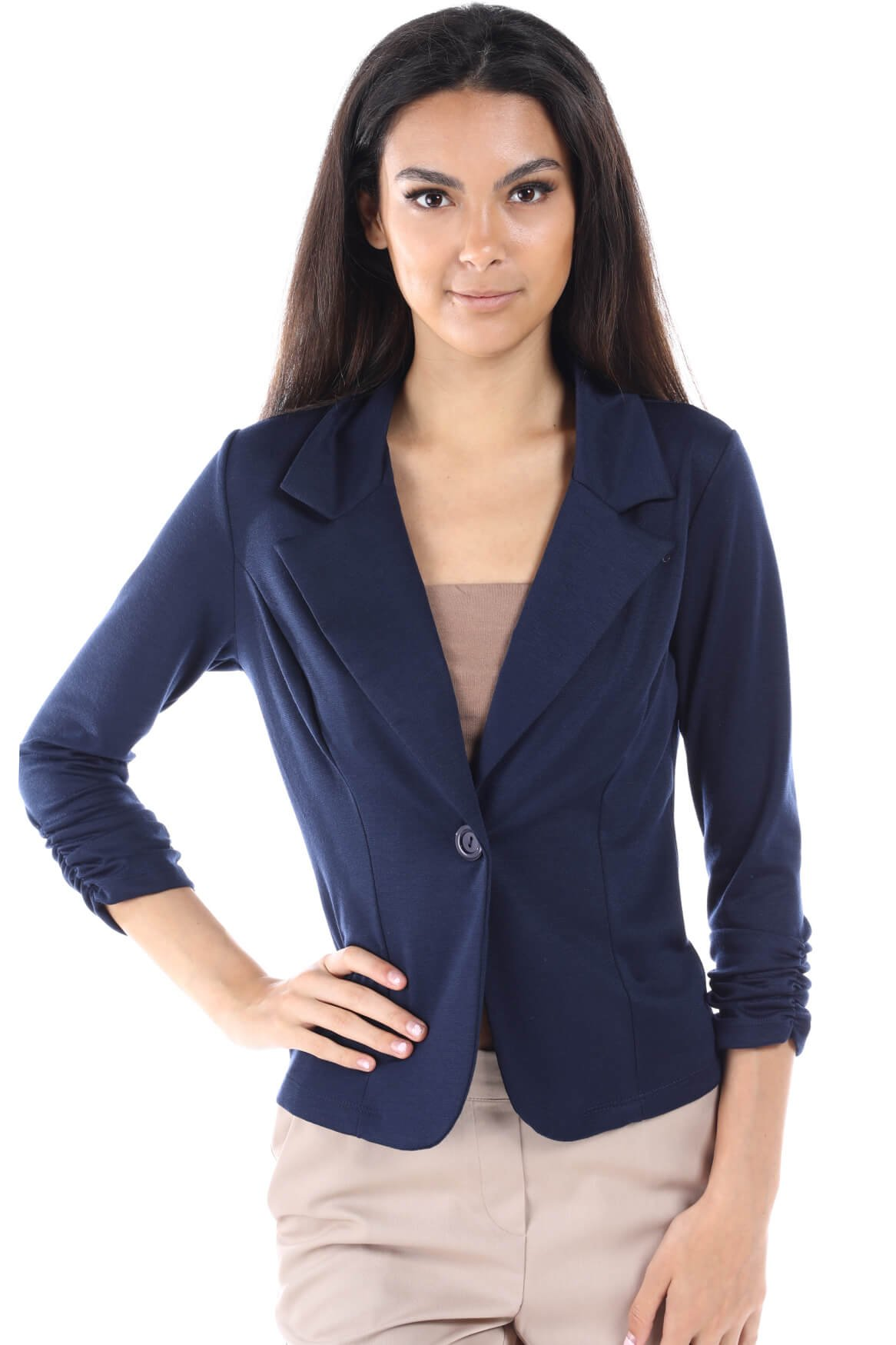 Women's One Button Office Knit Blazer Jacket,Made in USA (Small-3XL) (2XL, Navy)