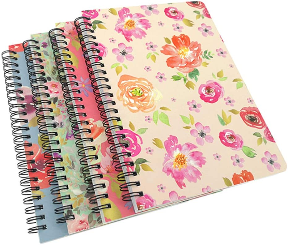 ALIMITOPIA Spiral Notebook Joural,Wirebound Ruled Sketch Book Notepad Diary Memo Planner,A5 Size & 80 Sheets (Floral)