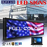 OLIVE LED Sign Full Color P15, 21''x50'' Programmable Scrolling Outdoor Message Display Signs EMC - Industrial Grade Business Ad machine.