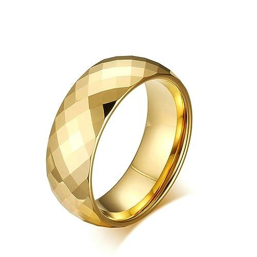 Daesar Joyería Hombre Anillo Compromiso Acero Carburo Superficie del Rombo Oro Sortijas Matrimonio para Hombre,