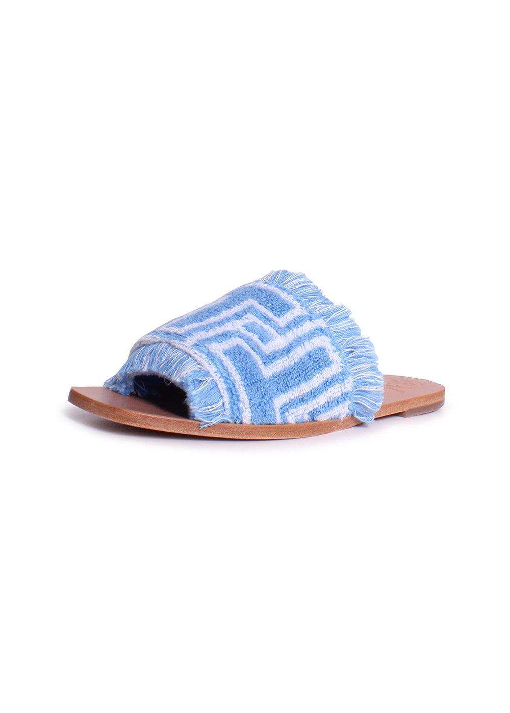 Tory Burch T-Tile Flat Slide Sandals in Blue Bird Ivory Size 5