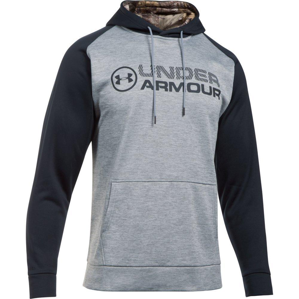 Under Armour Men's Armour Storm Fleece Stacked Hoodie, Steel/Black, X-Large