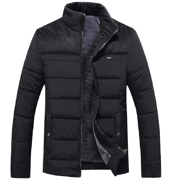 CuteRose Mens Winter Stand Collar Big and Tall Outwear Puffer Jacket Coat