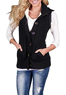 db96ba52826c8 Mafulus Womens Hooded Sweaters Sleeveless Button Down Cardigan Loose Cable Knit  Vest Warm Outerwear with Pockets