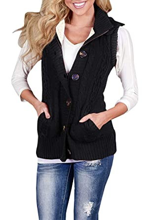 f4dabe1e7a Chellysun Women Cable Hooded Vest Sweater Sleeveless Knit Button Open Front  Cardigans Black
