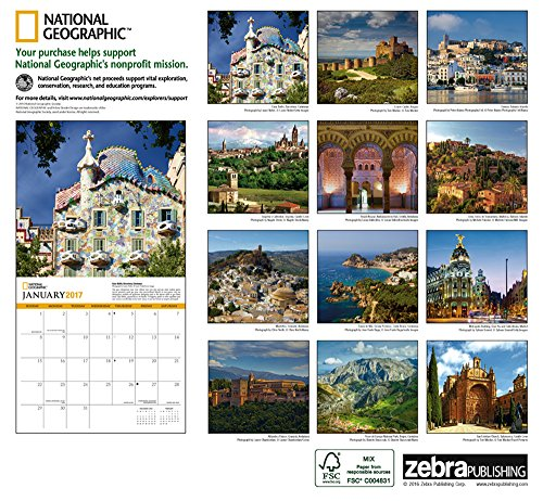 national geographic spain 2017 wall calendar clever4travel. Black Bedroom Furniture Sets. Home Design Ideas