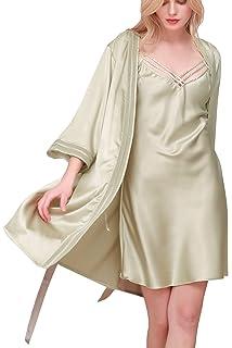 Dolamen Women s Lace Nighties Satin and Dressing Gown Kimono Robe e3d0b9ca9