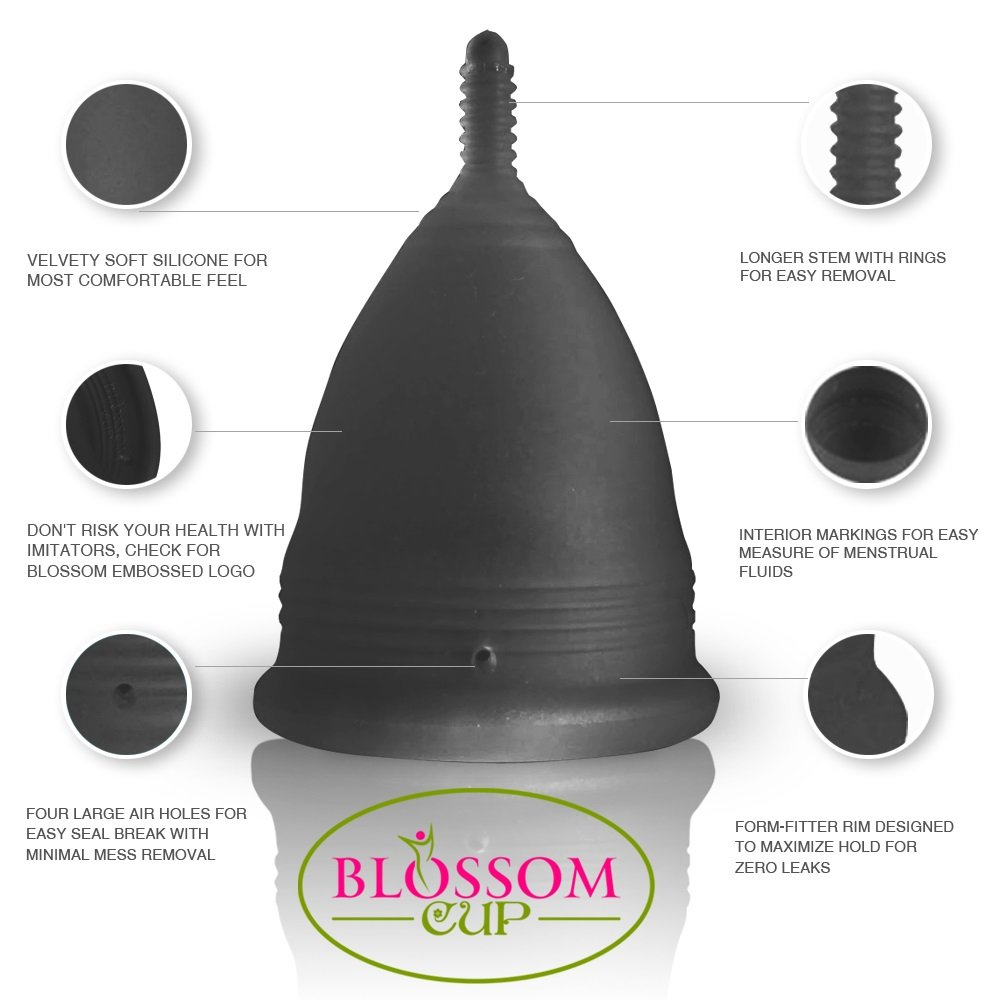 Blossom Menstrual Cups Set of 2 Cups (Sm Clear, Lg Black)
