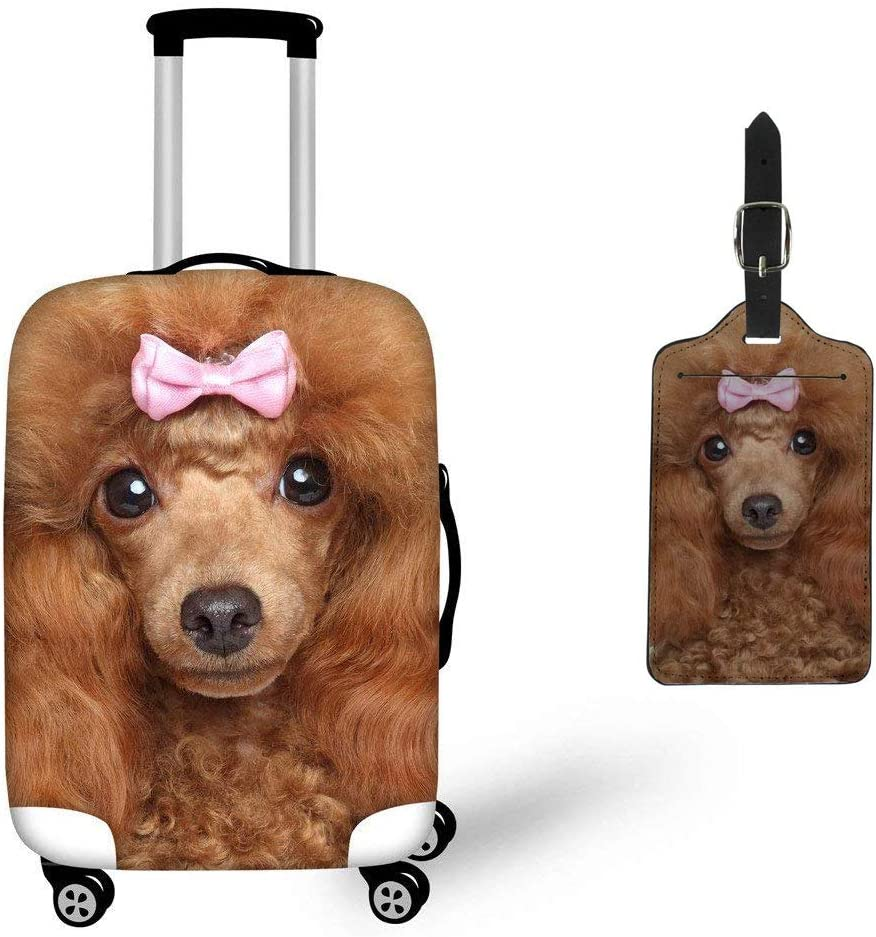 Cute Dogs Pug Pattern 18-21 inch Travel Luggage Cover Spandex Suitcase Protector Washable Baggage Covers