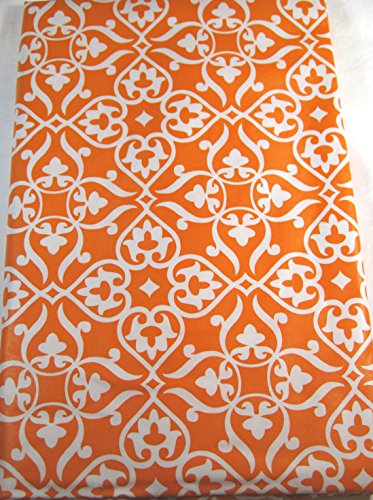 Fleur De Lis Vinyl Umbrella Tablecloth with Hole and Zipper Orange Assorted Sizes (70 Round) (With Umbrella For Tablecloth Hole Outdoor)