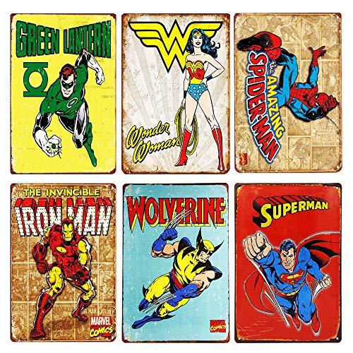 (TISOSO Flash Retro Metal Tin Sign Superman,Iron Man,Wonder women,Green Lantern,Wolverine,Spider-Man Vintage Superhero Signs Bundle Marvel Comic Cover Coffee & Bar Wall Decor Home Sign Gift6pcs-8x12inc)