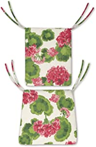 Plow & Hearth Polyester Classic Rocking Chair Cushions with Ties - Seat: 21 @ Front, 17 @ Back x 19 x 2.5 Back: 16 x 20 x 2.5 Geranium
